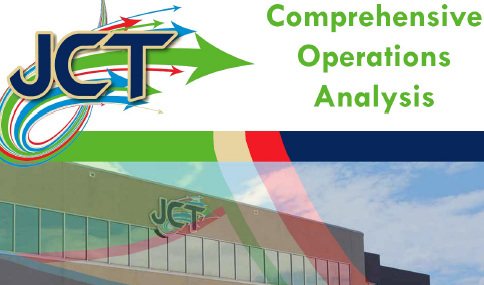 Picture of the front of the Johnson City Transit Center building, with the JCT logo and the words Comprehensive Operational Analysis