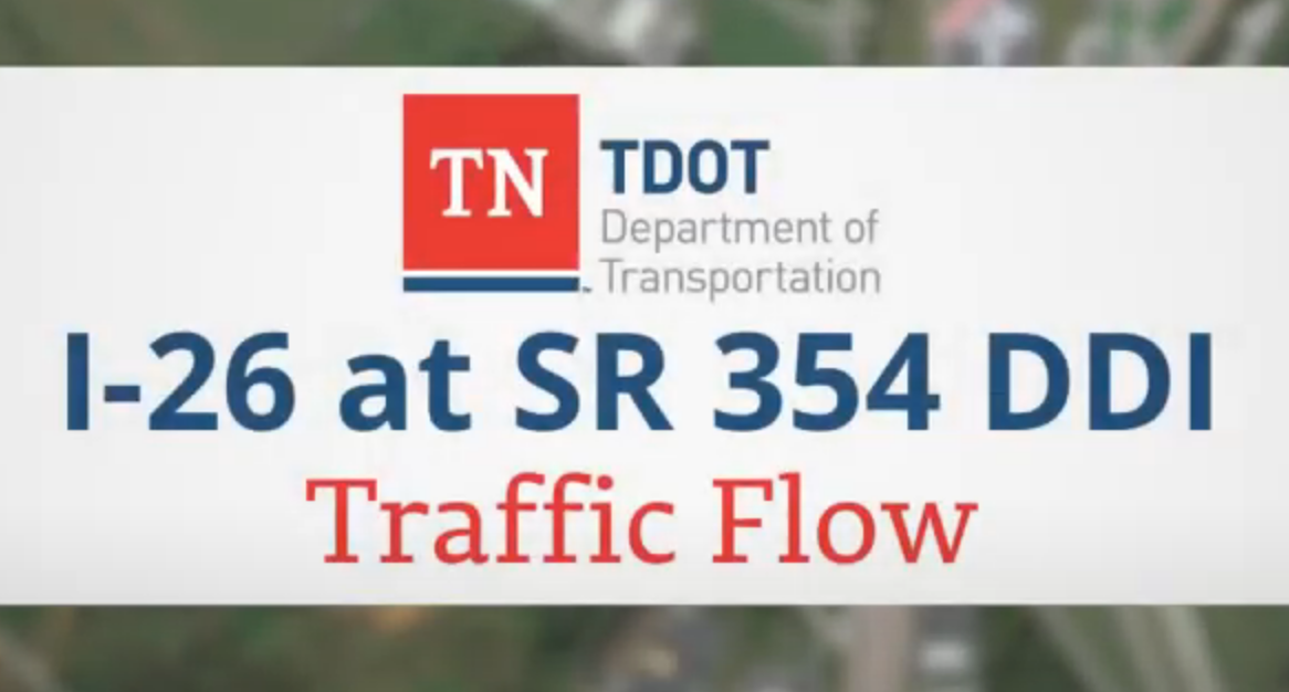 Picture that says TDOT I-26 at SR-354 DDI Traffic Flow