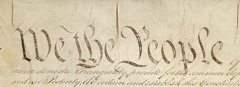 Picture of the Declaration of Independence with the words We The People