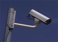A view of a traffic camera on a pole